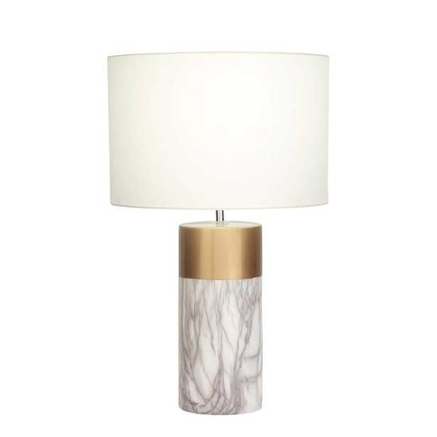 24 in. Modern White and Gold Ceramic Table Lamp - Home Depot