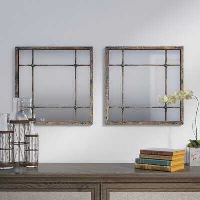 2 Piece Remo Square Traditional Beveled Distressed Mirror Set - Wayfair