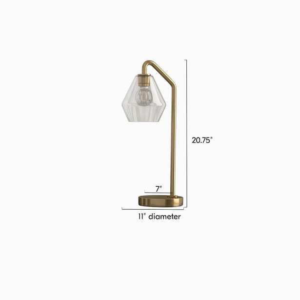 Sculptural Table Lamp, Geo Mini, Clear, Antique Brass - West Elm