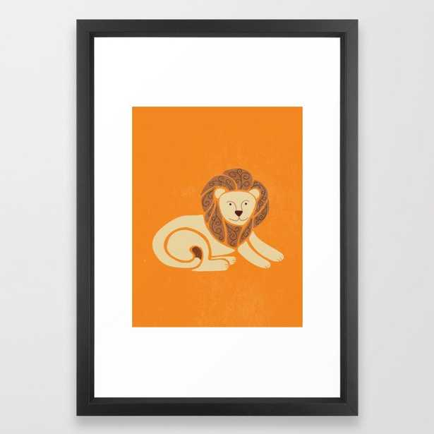 L is for Lion (Text free) Framed Art Print - 15x21, vector black frame - Society6