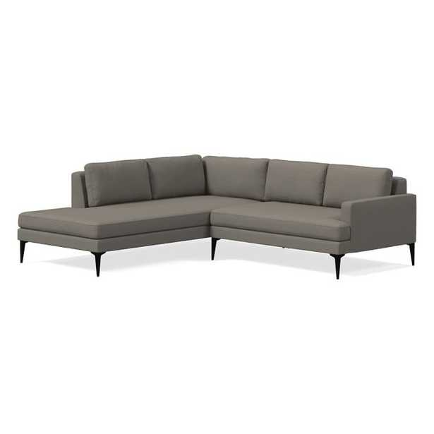 Andes Sectional Set 16: Right Arm 2 Seater Sofa, Left Arm Terminal Chaise, Chunky Basketweave, Metal, Dark Pewter - West Elm