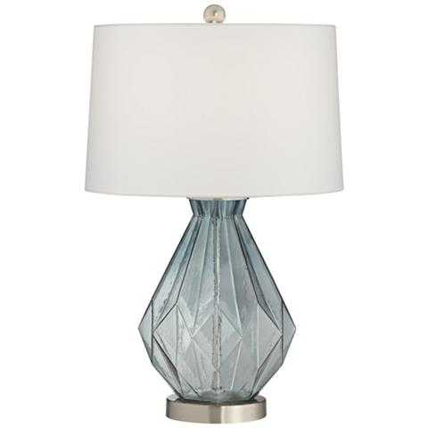 Stacey Geometric Blue Glass Table Lamp - Style # 63T78 - Lamps Plus