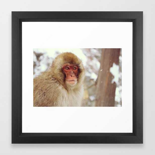 Standing guard - Japanese Snow Monkey Framed Art Print - Society6