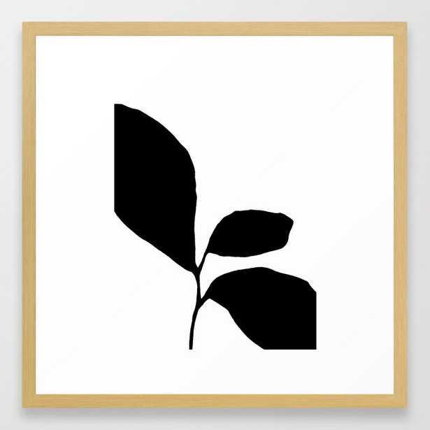 Three Leaf Seedling - Black and White Botanical Framed Art Print, 12 X 12, Vector Black - Society6