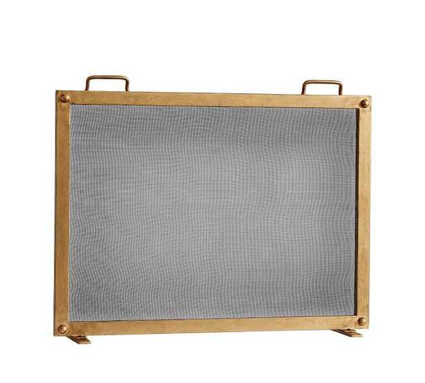 Industrial Fireplace Single Screen, Brass - Large - Pottery Barn