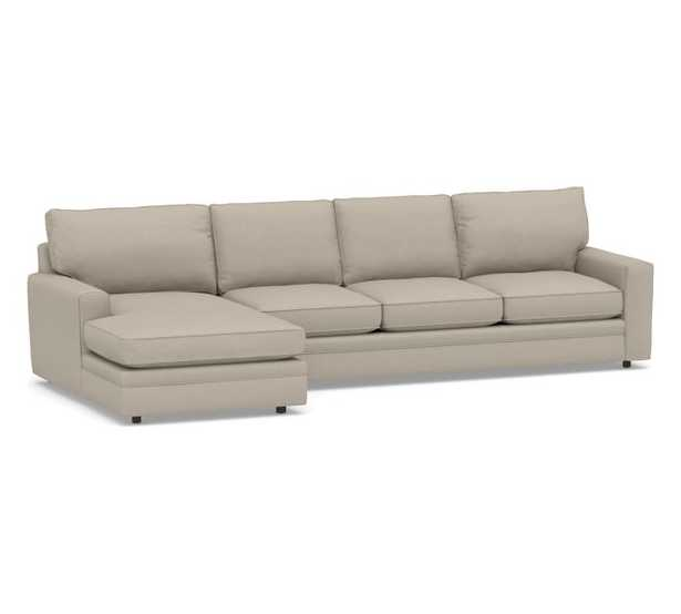Pearce Square Arm Upholstered Right Arm Sofa with Double Chaise Sectional, Down Blend Wrapped Cushions, Performance Brushed Basketweave Sand - Pottery Barn