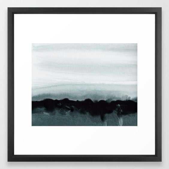 "blurred landscape Framed Art Print - Medium by Patternization 22 x 22"" - Vector Black - Society6"