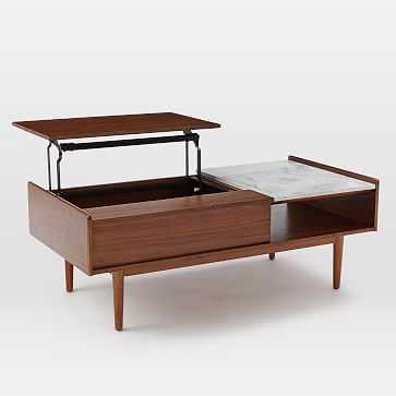 Mid Century Pop Up Coffee Table, Marble/Walnut - West Elm