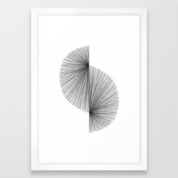 Mid Century Modern Geometric Abstract S Shape Line Drawing Pattern Framed Art Print - Society6