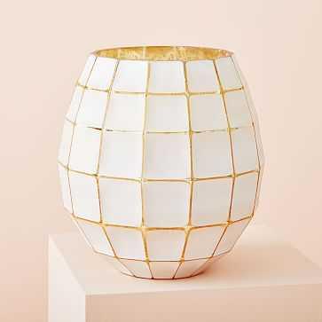 Gold + White Lantern Candle, Medium - West Elm