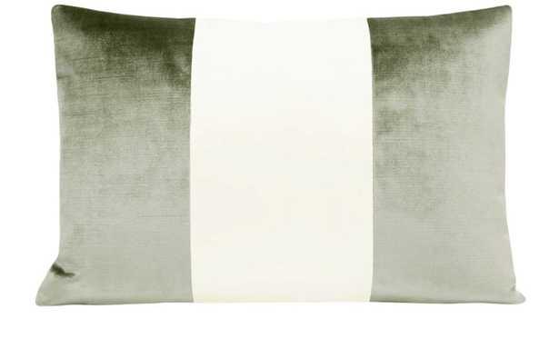 """The Little Lumbar :: COLORBLOCK Faux Silk Velvet // Pistachio - 12"""" X 18"""" - Little Design Company"""