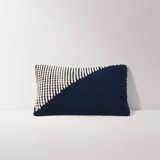 Burrow Navy Blue and White Lumbar Pillow Cover, Diagonal Pattern - Decorative Pillows with Insert - Burrow