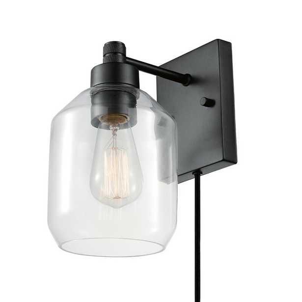 Czaplinksi 1-Light Plug-In Black Armed Sconce - Wayfair