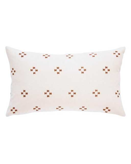 hmong pillow in cream with brown ikat squares - PillowPia