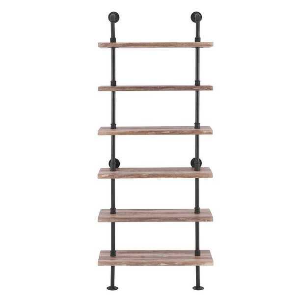 Carl Iron Pipe Wall Mount Ladder Bookcase - Wayfair