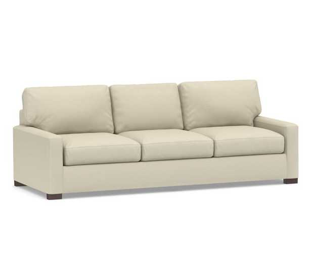 """Turner Square Arm Upholstered Grand Sofa 105"""" without Nailheads, Down Blend Wrapped Cushions, Performance Everydaylinen(TM) by Crypton(R) Stone - Pottery Barn"""