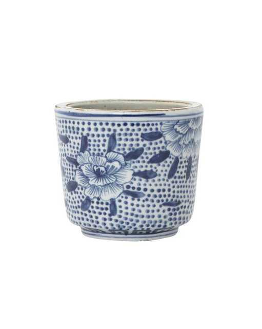 BLUE & WHITE PETAL JAR - McGee & Co.