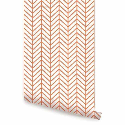Nevaeh Herringbone Line Matte Peel and Stick Wallpaper Panel - Wayfair