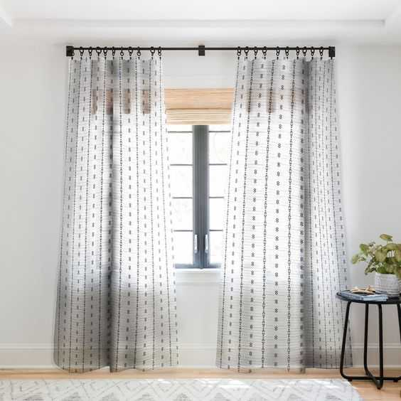 "FRENCH LINEN TRIBAL STRIPE Sheer 96"" Window Curtain - 1 Panels - Wander Print Co."