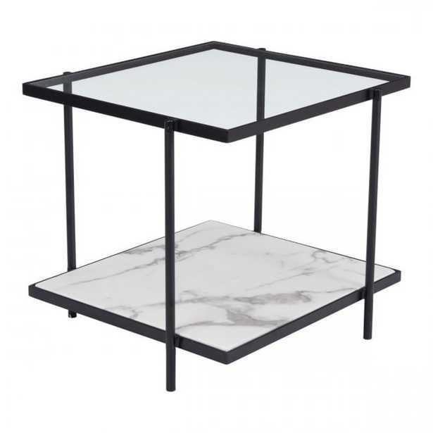 Winslett End Table Clear & White & Matt Black - Zuri Studios