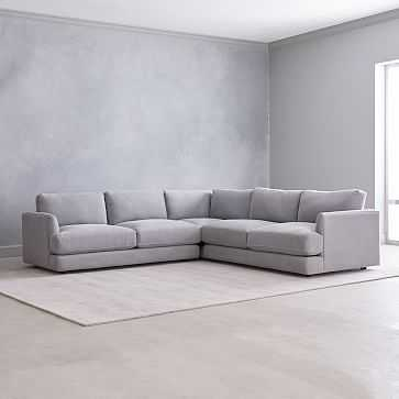 Haven Sectional Set 03: Left Arm Sofa, Corner, Right Arm Sofa, Poly, Yarn Dyed Linen Weave, Shelter Blue - West Elm