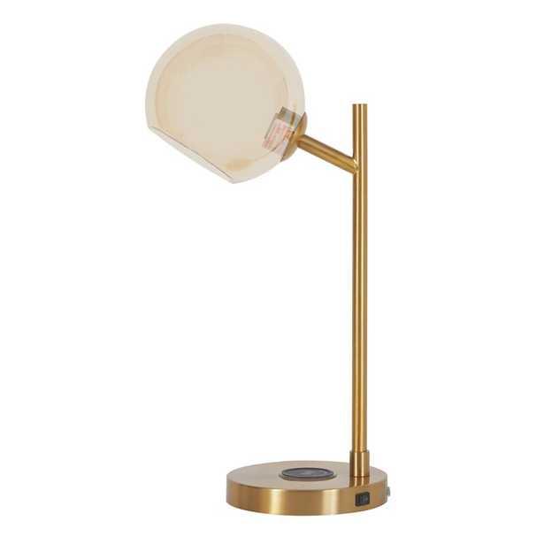 "LaGrange 23"" Gold Desk Lamp with USB - Wayfair"