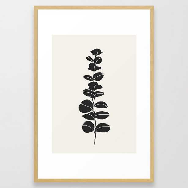 Minimal Eucalyptus Line Art Framed Art Print - Society6