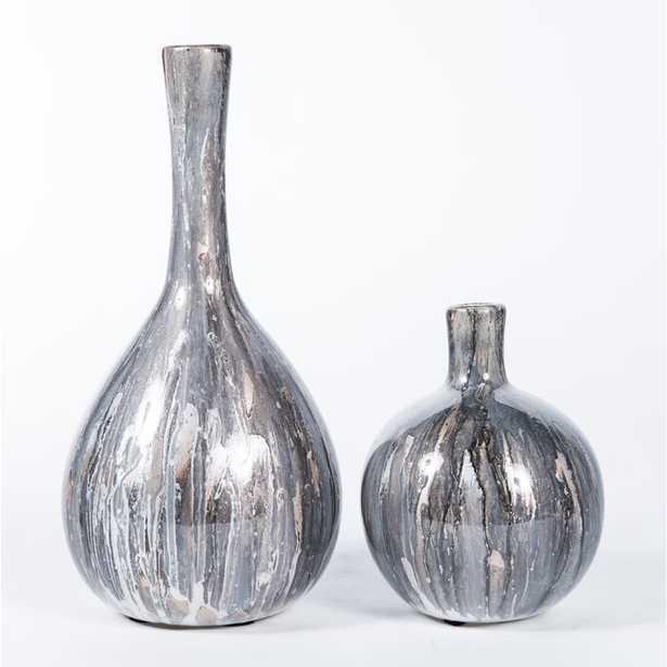HAND BLOWN GLASS 2 PIECE TABLE VASE SET - Perigold