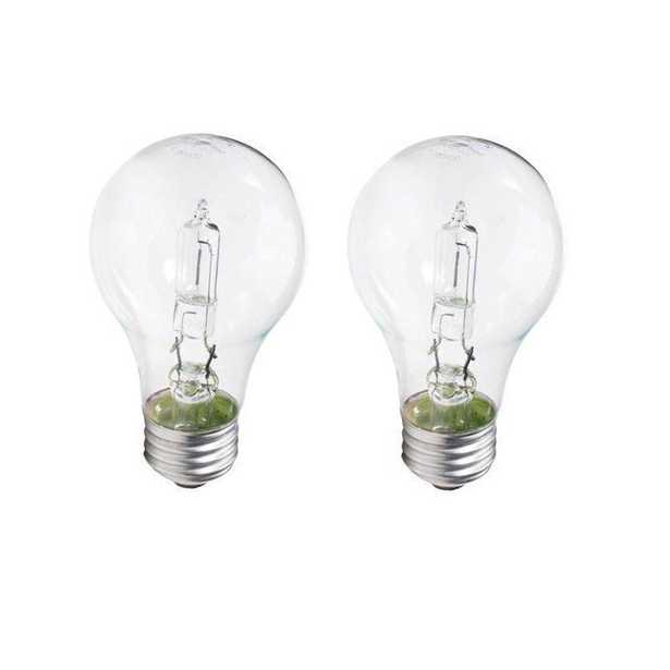 100-Watt Equivalent A19 Dimmable Clear Glass Eco Incandescent Light Bulb (Halogen) Soft White (2990K) (2-Pack) - Home Depot
