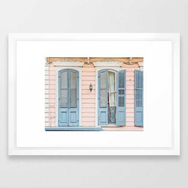 """Shotgun House #2 - New Orleans Photography Framed Art Print Vector White frame Small 15""""x21"""" - Society6"""