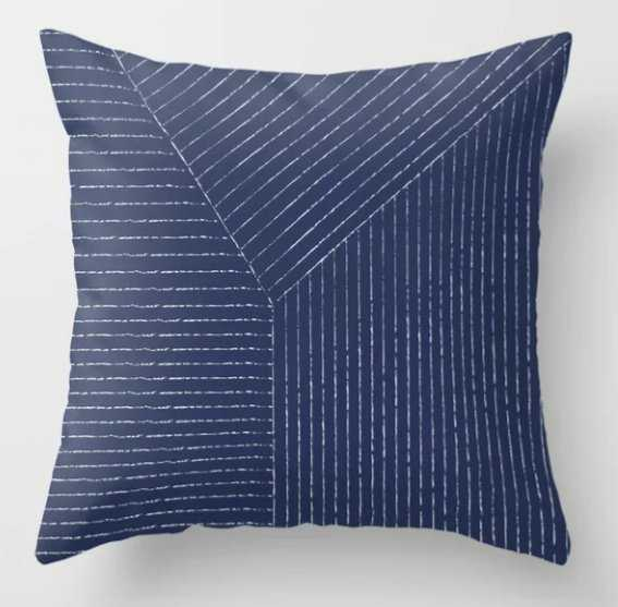 Lines / Navy Throw Pillow - Society6