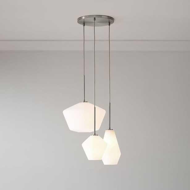 Sculptural Glass 3-Light Round Geo Chandelier, S-M-L Geo, Milk Shade, Nickel Canopy - West Elm