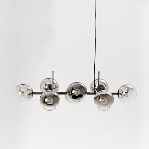 Staggered Glass Chandelier, 8-Light, Silver/Antique Bronze-Without Bulb - West Elm