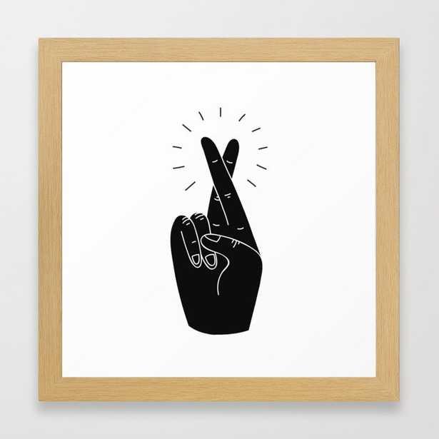 Fingers Crossed Framed Art Print 12 x 12 - Society6