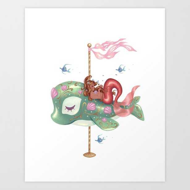 Mermaid Carousel - The Whale Art Print - Society6