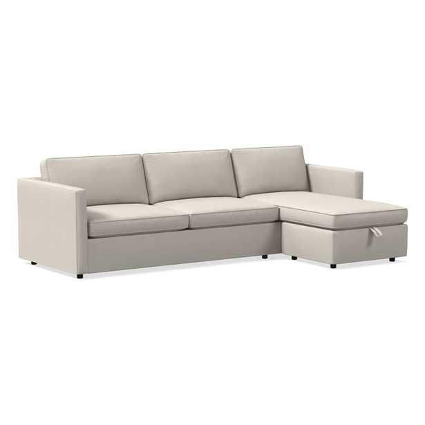 Harris Reversible Sectional, Poly, Luxe Boucle, Angora Beige - West Elm