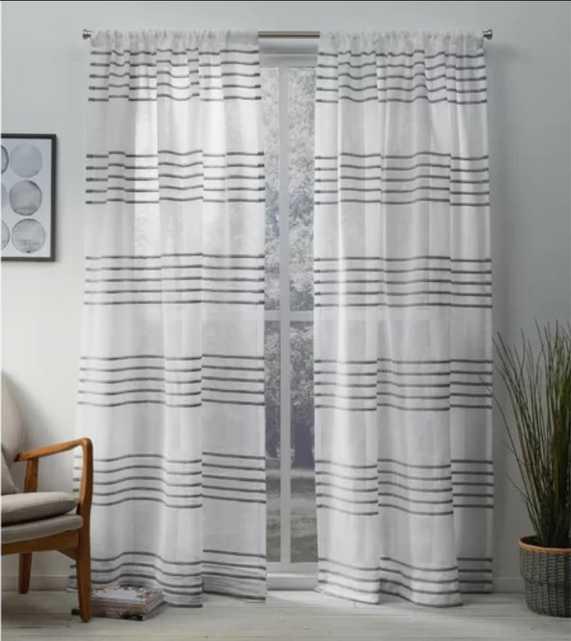 Winterbourne Down Striped Sheer Rod Pocket Curtain Panels (set of 2) - Birch Lane