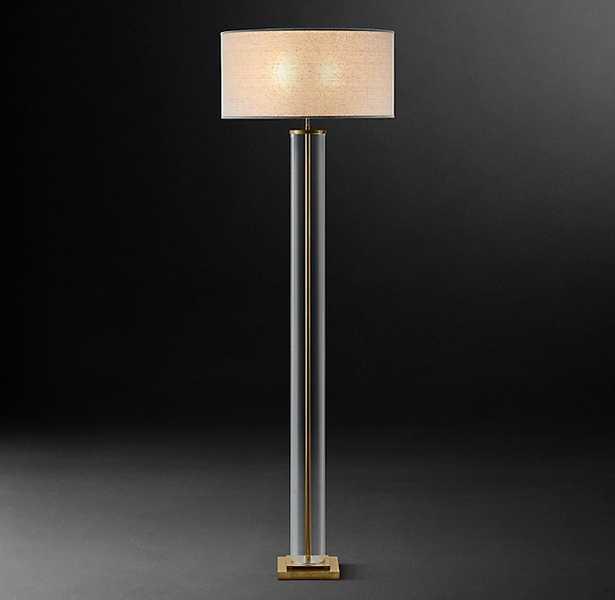 FRENCH COLUMN GLASS FLOOR LAMP - Antique Brass - RH