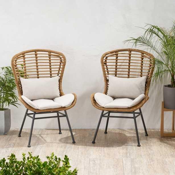 Nagata Patio Chair with Cushions (Set of 2) - Wayfair