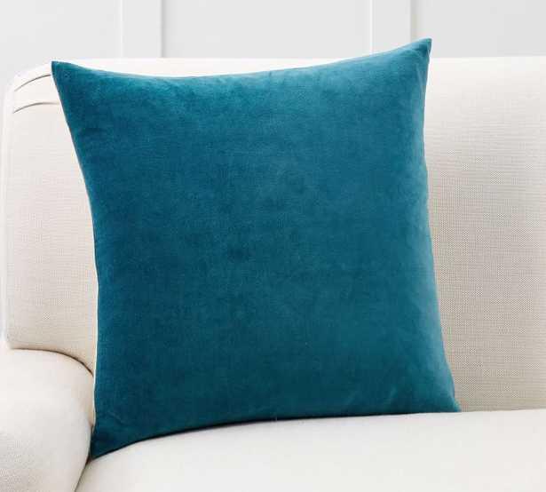 """Velvet Linen Pillow Cover, 20 x 20"""", Azure - Pottery Barn"""