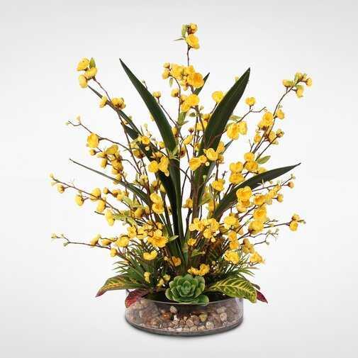 Silk Peach Blossom & Artificial Succulents Floral Arrangement - Wayfair
