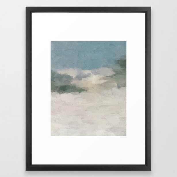 Modern Abstract Painting, Teal Blue, Sage Green, Beige Yellow Sandy Digital Prints Wall Art, Ocean Framed Art Print 20x26 - Society6