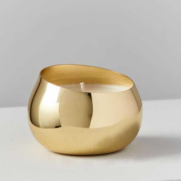 Angled Metal Mini Candle, Gold, Tonka Noir - West Elm