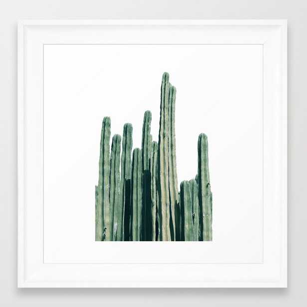Cactus Line Framed Art Print - 12x12, scoop white - Society6