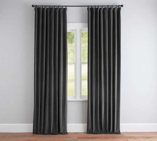 "Velvet Twill Curtain, 50 x 96"", Washed Black - Pottery Barn"