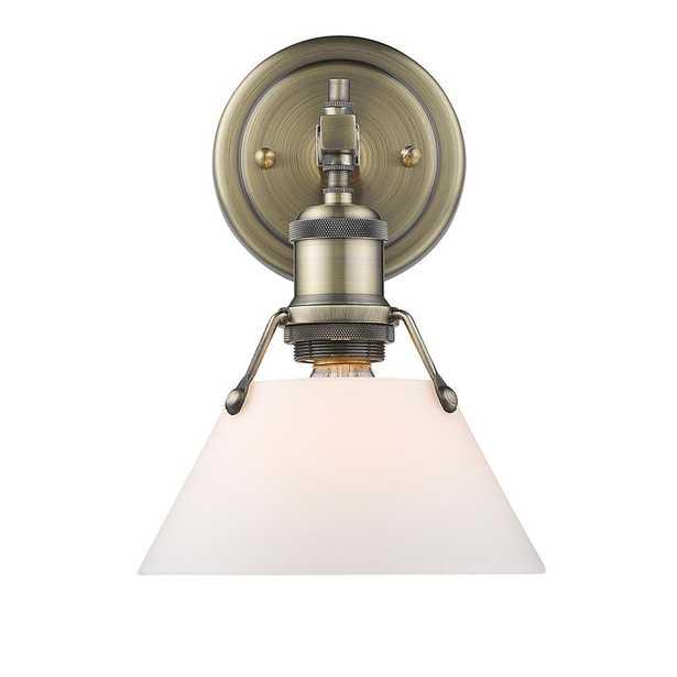 Golden Lighting Orwell AB 1-Light Aged Brass Bath Light with Opal Glass Shade - Home Depot
