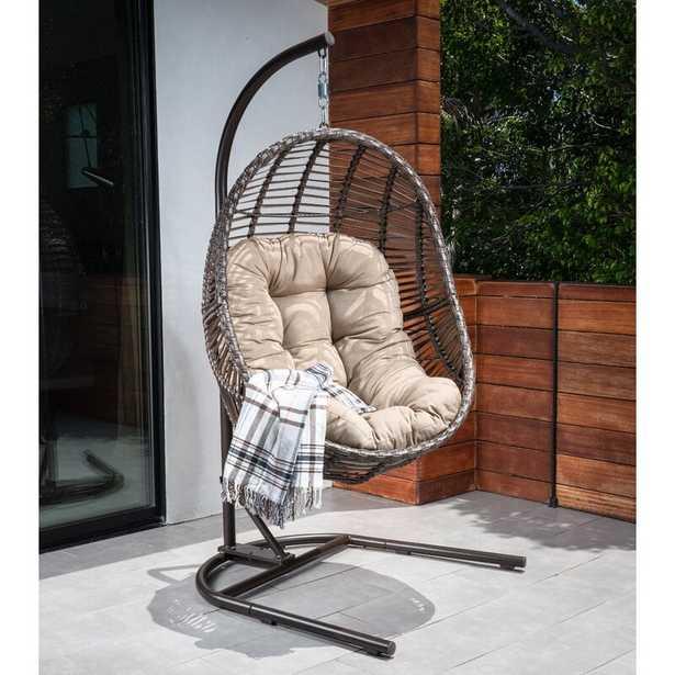 Brannan Wicker Swing Chair with Stand - Wayfair
