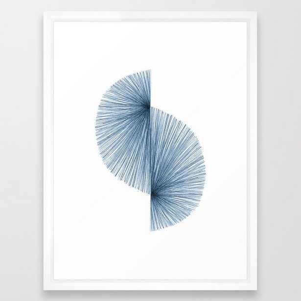"Mid Century Style Modern Geometric Abstract in Indigo Blue Framed Art Print - 20"" x 26"" - Vector White - Society6"