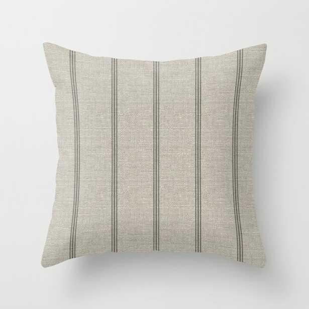 Farmhouse linen grey rustic grain sack texture vintage farmhouse lined linen design modern rustic Throw Pillow - Society6