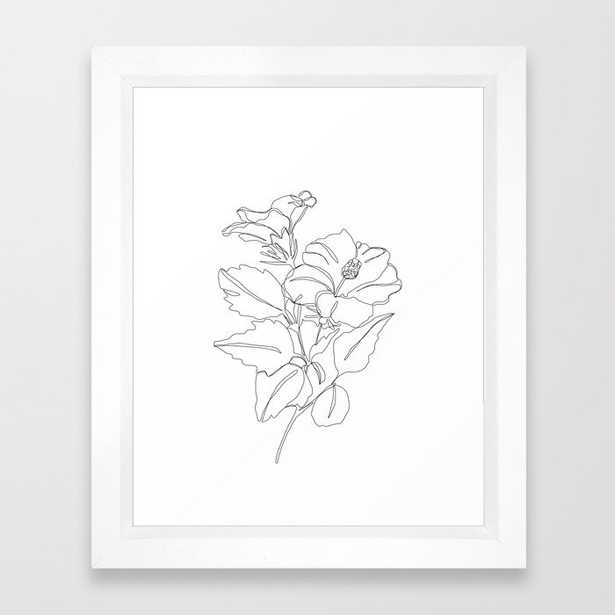 Floral one line drawing - Hibiscus Framed Art Print by Thecolourstudy - Vector White - 10 x 12 - Society6